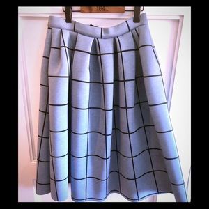 Scuba material black & blue check skirt